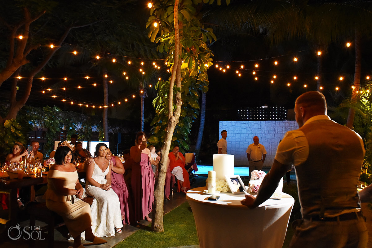 Groom Speech Wedding Reception Wayak Garden Dreams Sands Cancun Wedding