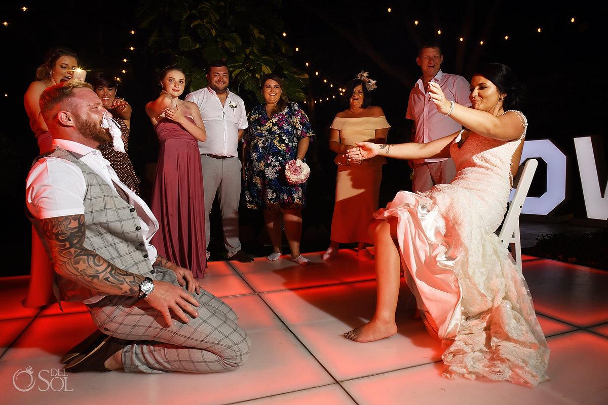 Groom Removing Garter Sexy Bride Dreams Sands Cancun Wedding Reception Wayak Garden