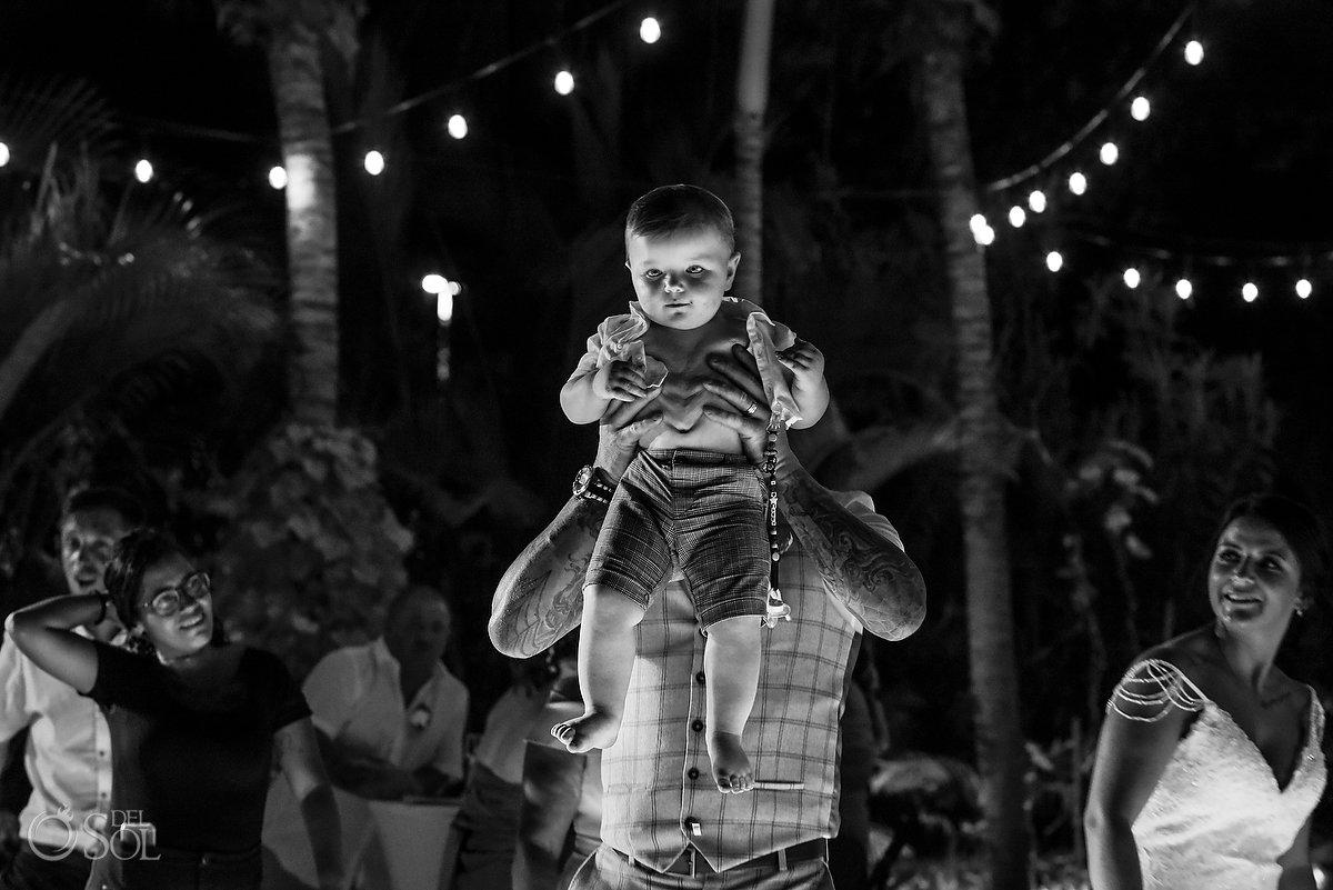 Baby Guest having Fun Wayak Garden Dreams Sands Cancun Wedding Reception