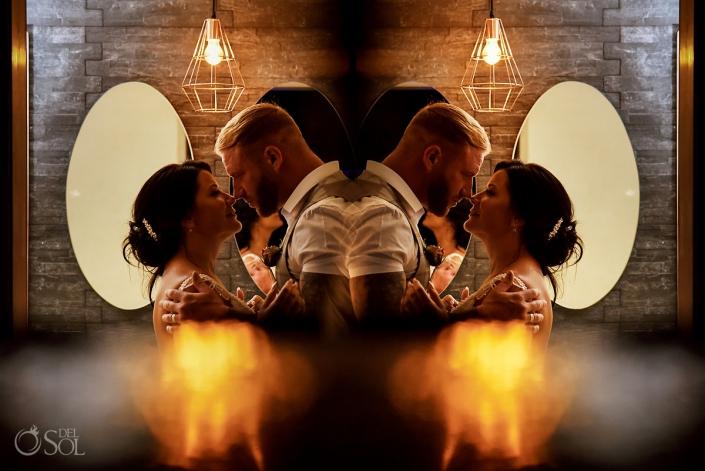 Gold Romantic Newlyweds Portrait Reflection