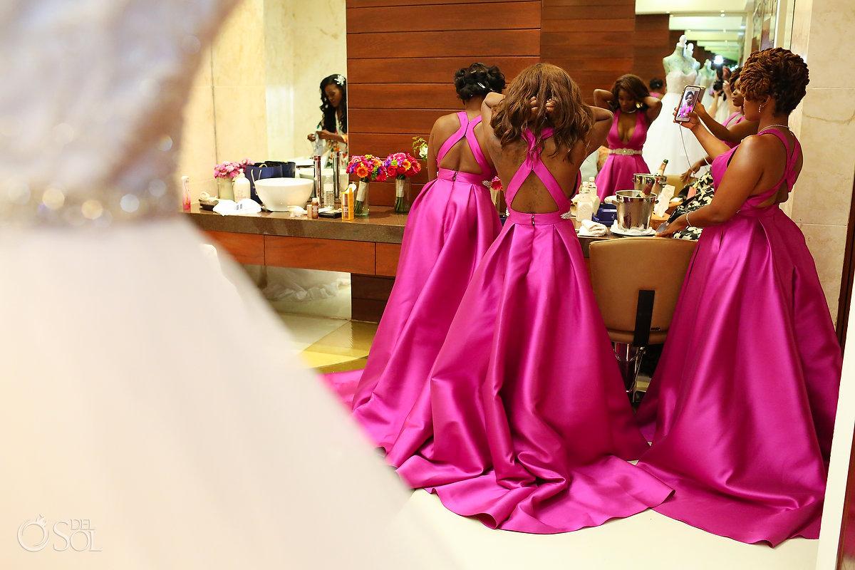 Pink Bridesmaids dresses Grand Velas Wedding