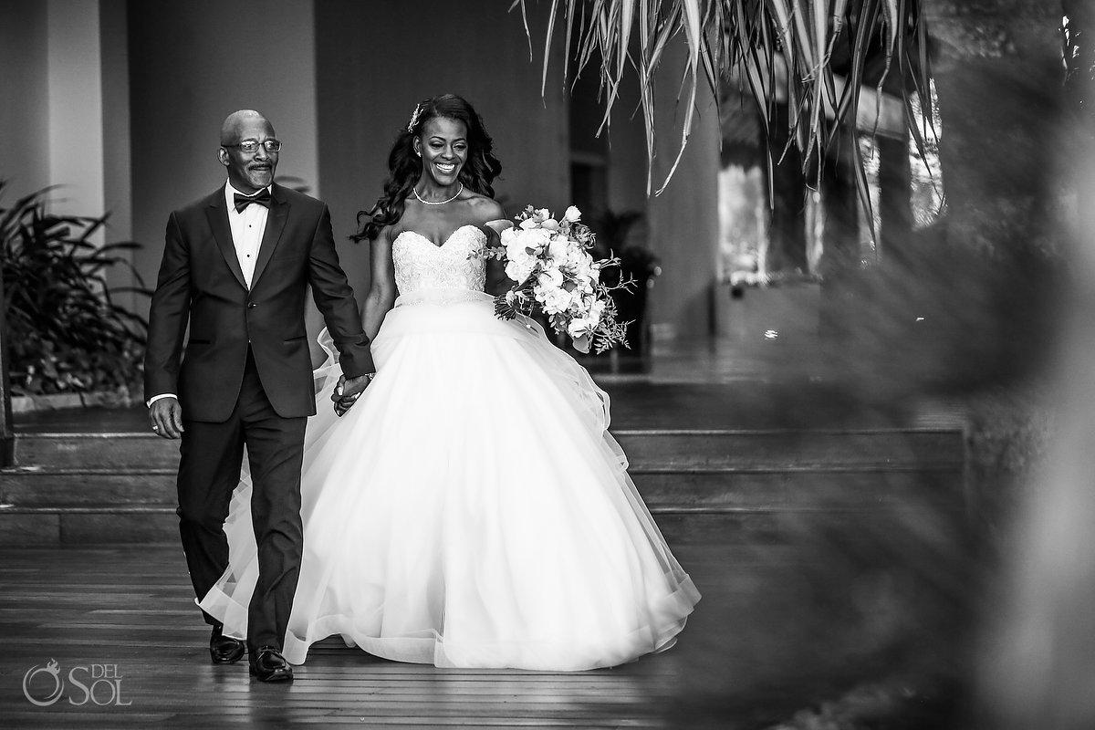Bride and father Grand Velas Wedding