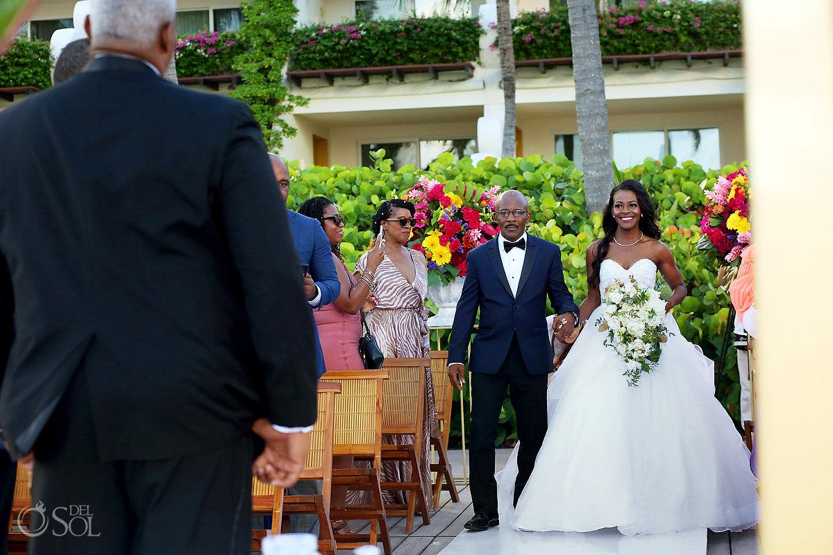 Recessional bride entrance Grand Velas Wedding