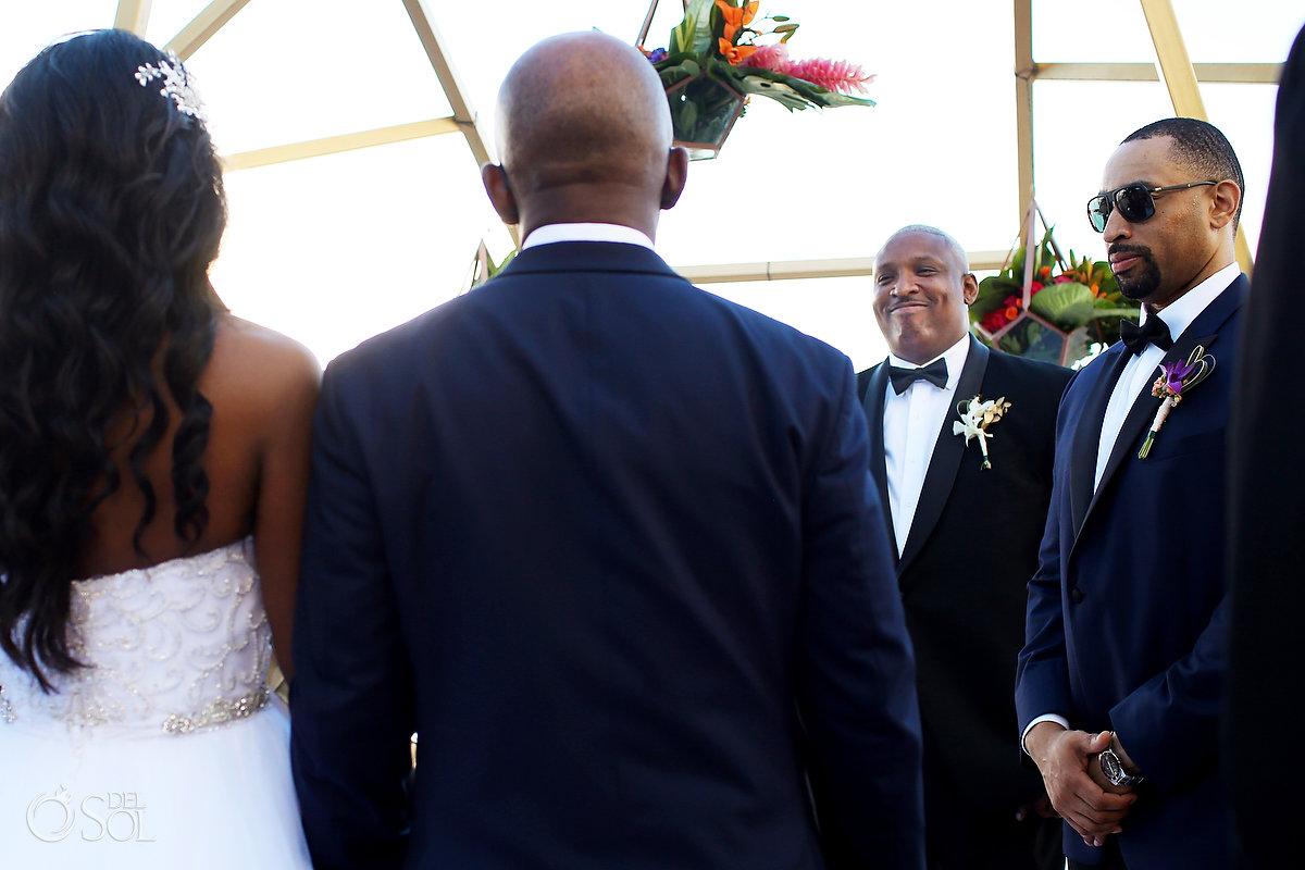 First look groom's face Grand Velas Wedding