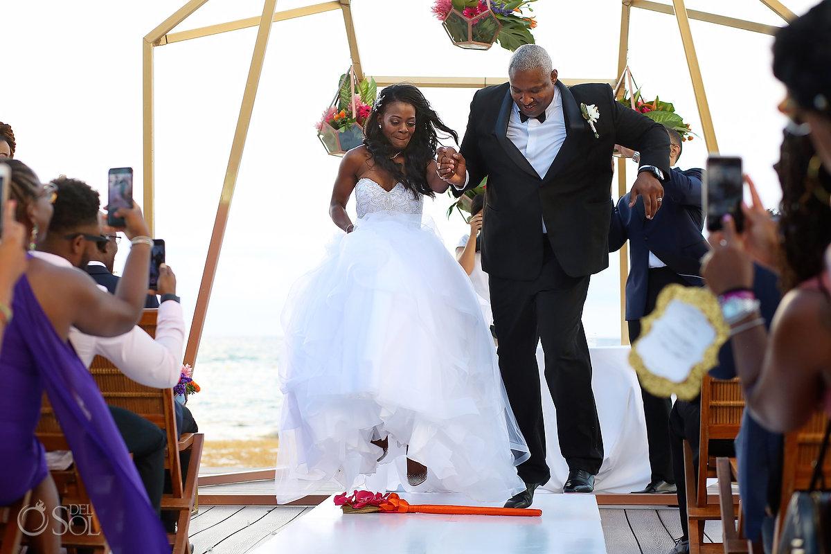 Jumping the broom African American wedding tradition Grand Velas Wedding
