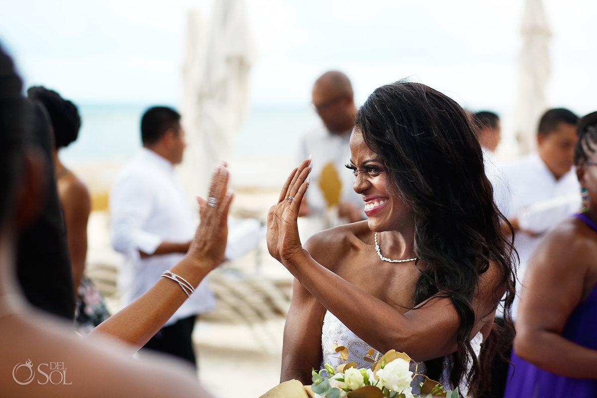 High five celebration moment Grand Velas Wedding