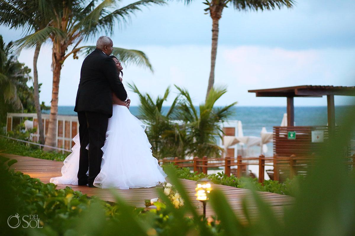 bride and groom portrait Grand Velas Wedding