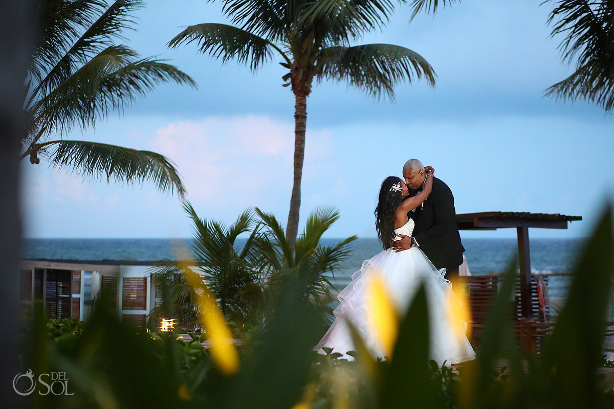Beach bride and groom Grand Velas Wedding
