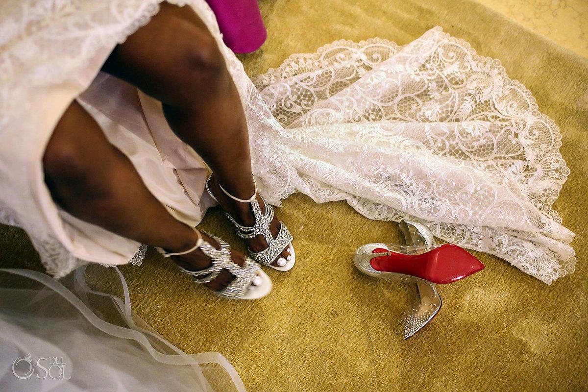 beautiful bride legs Grand Velas Wedding