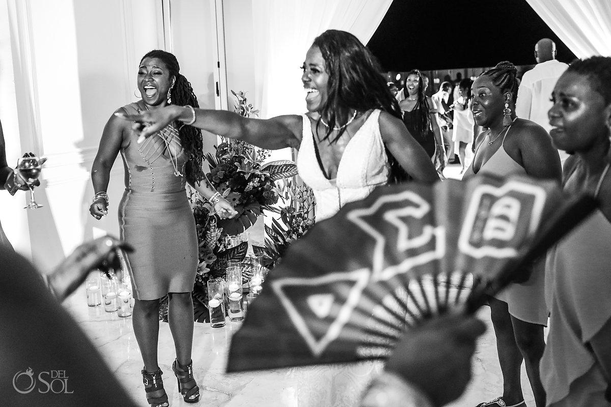 Grand Velas Wedding reception guests sorority sisters