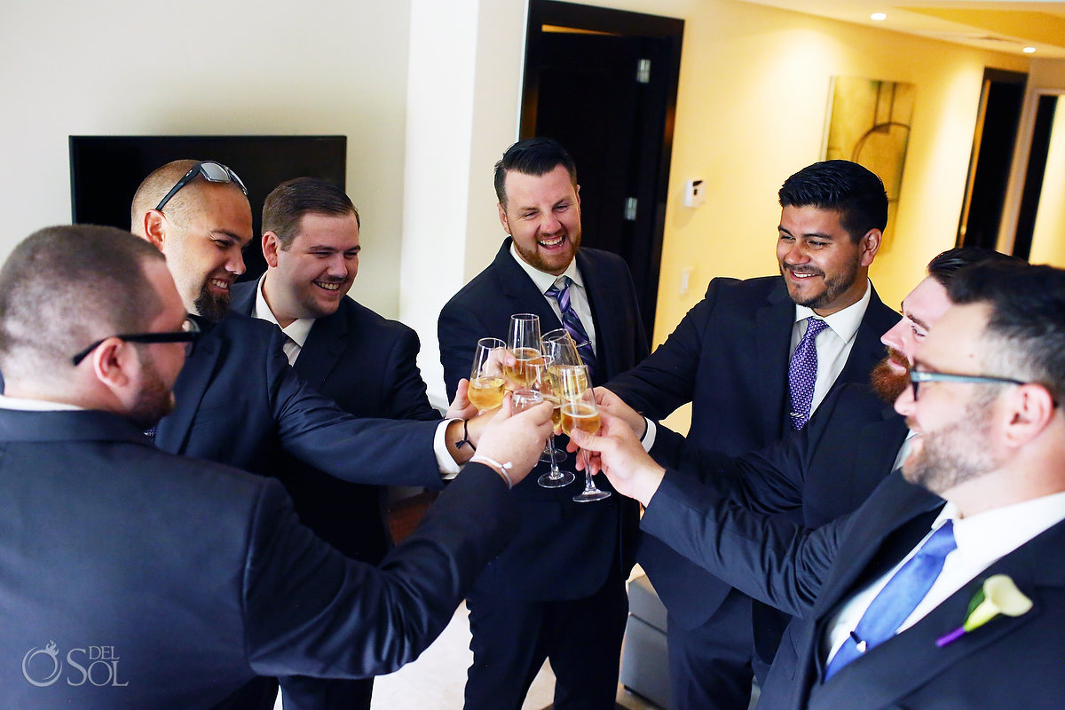 groom and groomsmen champagne toast Paradisus Playa del Carmen Wedding