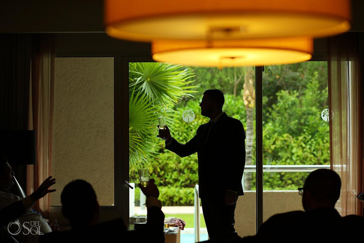 creative groom portrait silhouette Paradisus Playa del Carmen wedding