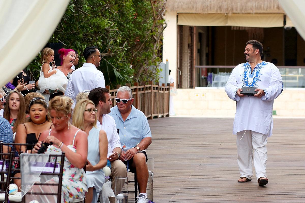 Hippy friend officiating wedding wearing dashiki Gabi Bridge Paradisus