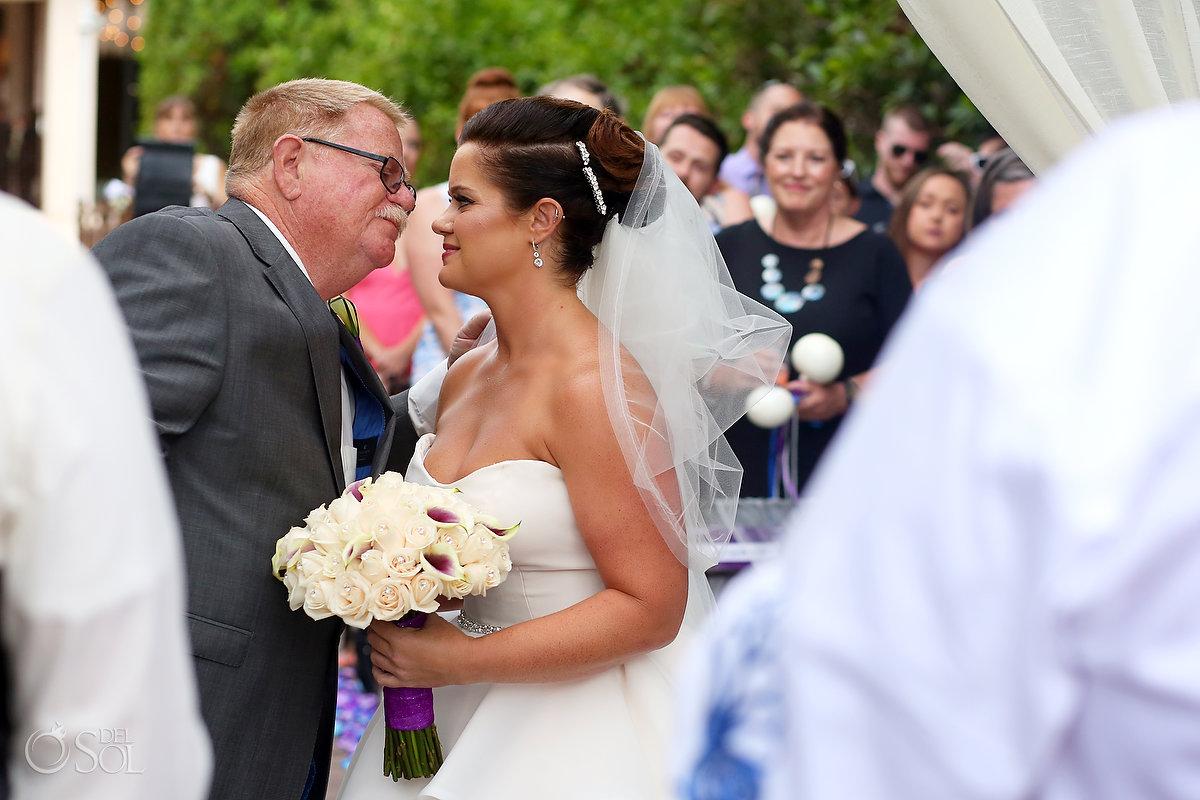 cutest ceremony moments FOB giving bride away Playa del Carmen wedding Paradisus Gabi Bridge
