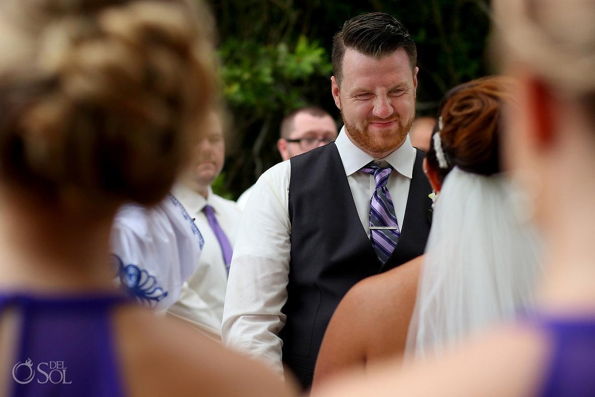 groom funny face Playa del Carmen wedding Paradisus Gabi Bridge