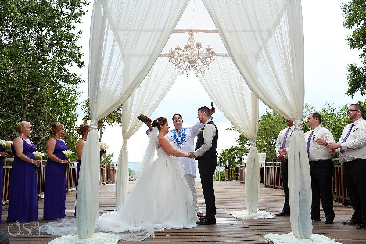 I now pronounce you man and wife Playa del Carmen wedding Paradisus Gabi Bridge