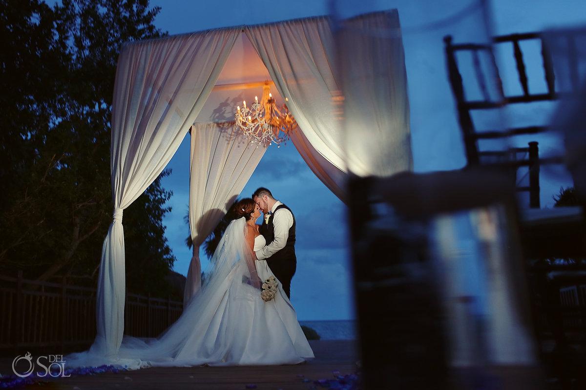Playa del Carmen wedding portrait blue hour Paradisus Gabi Bridge gazebo with chandelier