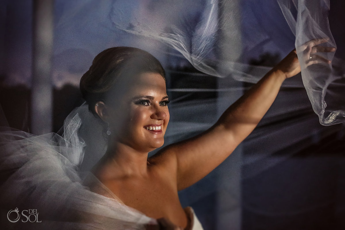 sunset bride portrait Playa del Carmen wedding Paradisus