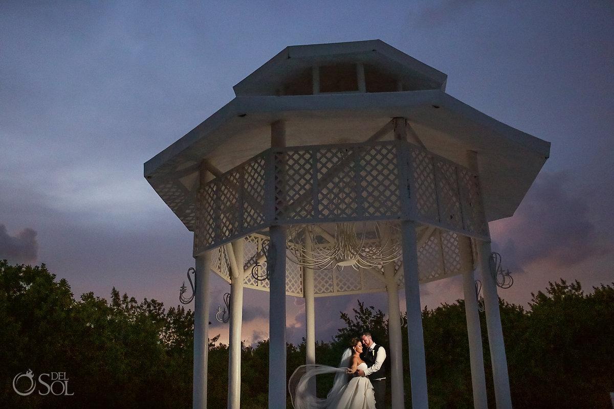 sunset couple portrait Paradisus Playa del Carmen wedding gazebo