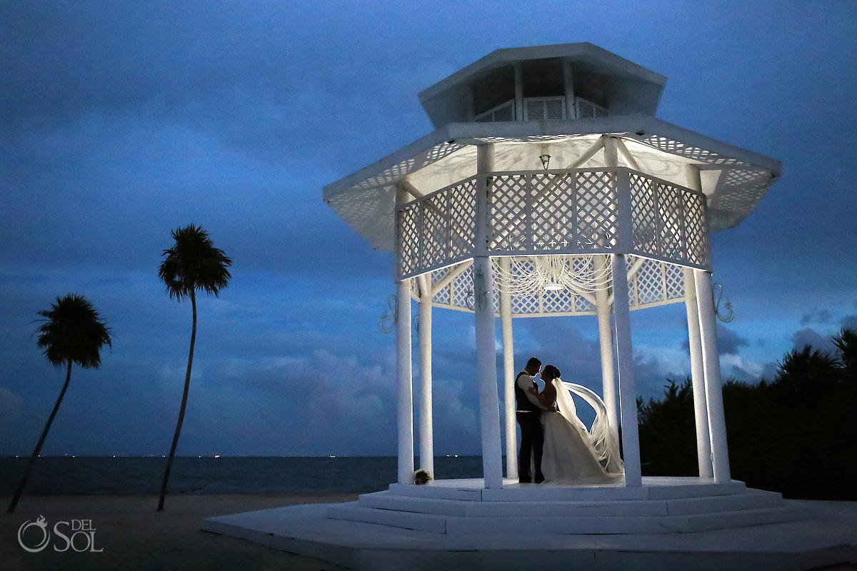 Playa del Carmen Wedding Paradisus Gazebo sunset backlit portrait long veil
