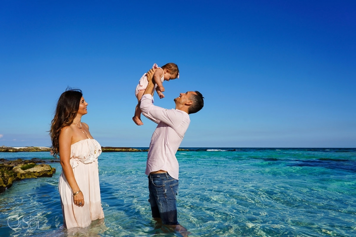 tulum family portraits in the caribbean ocean