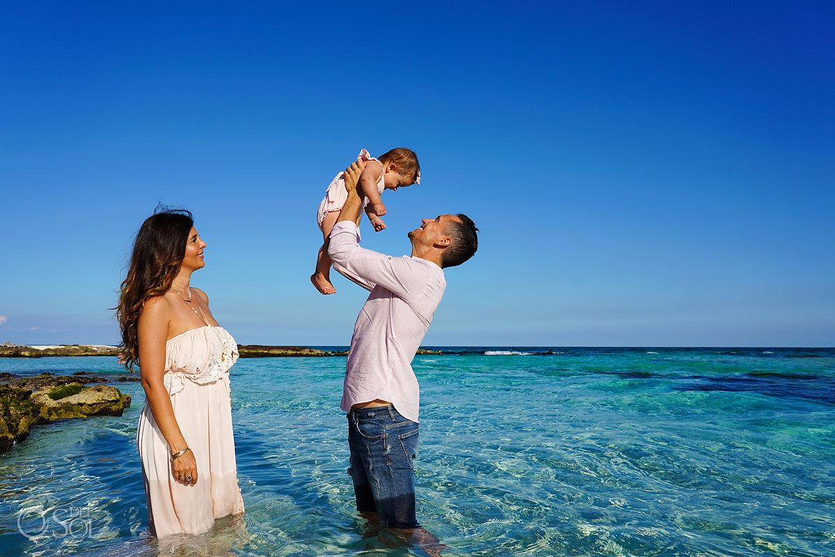 tulum family portraits in the caribbean ocean