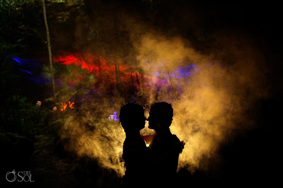 dramatic couple portrait silhouette