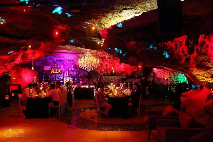 mexico cave wedding reception Alux Restaurant Playa del Carmen