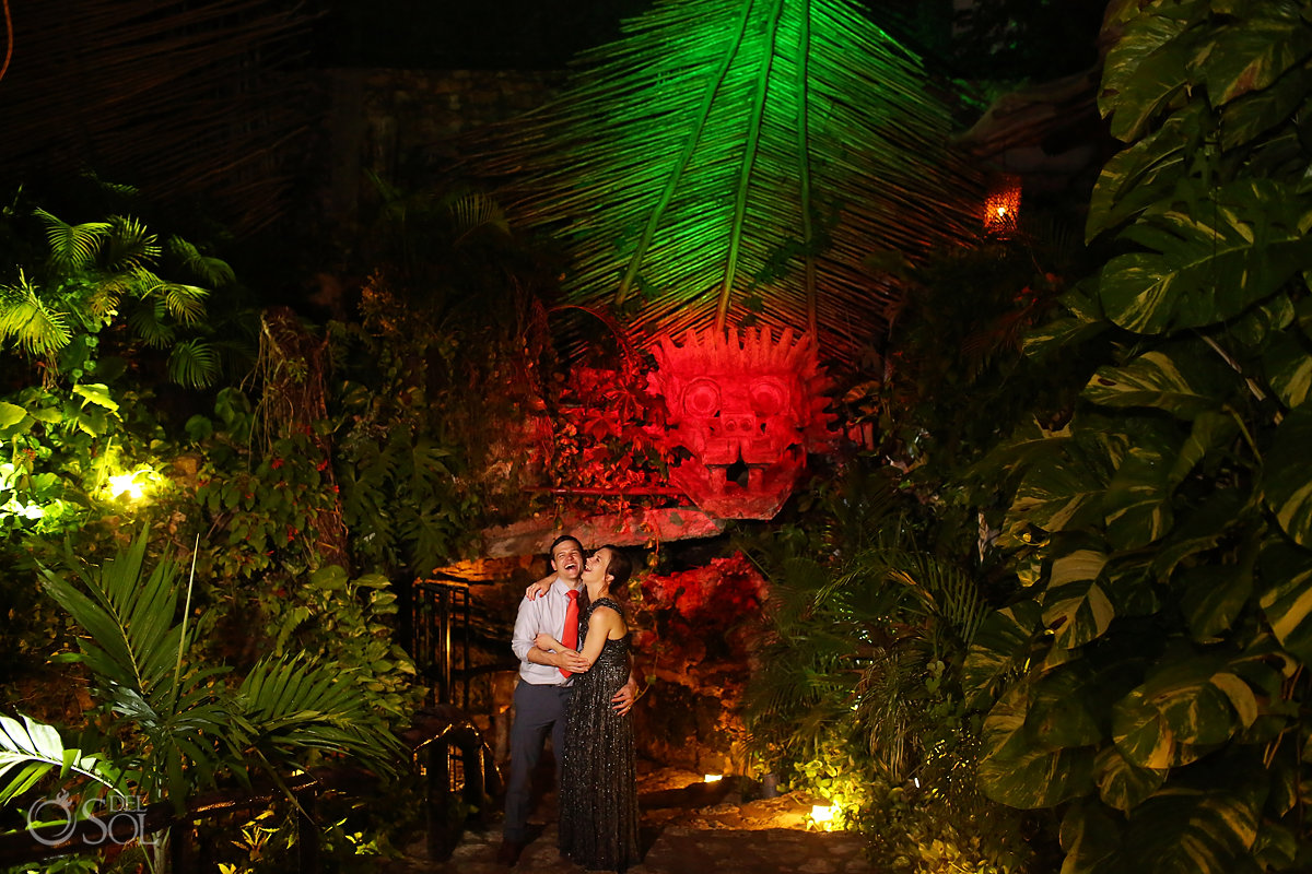 Unique reception venue Alux restaurant couple portrait Kukulkan head