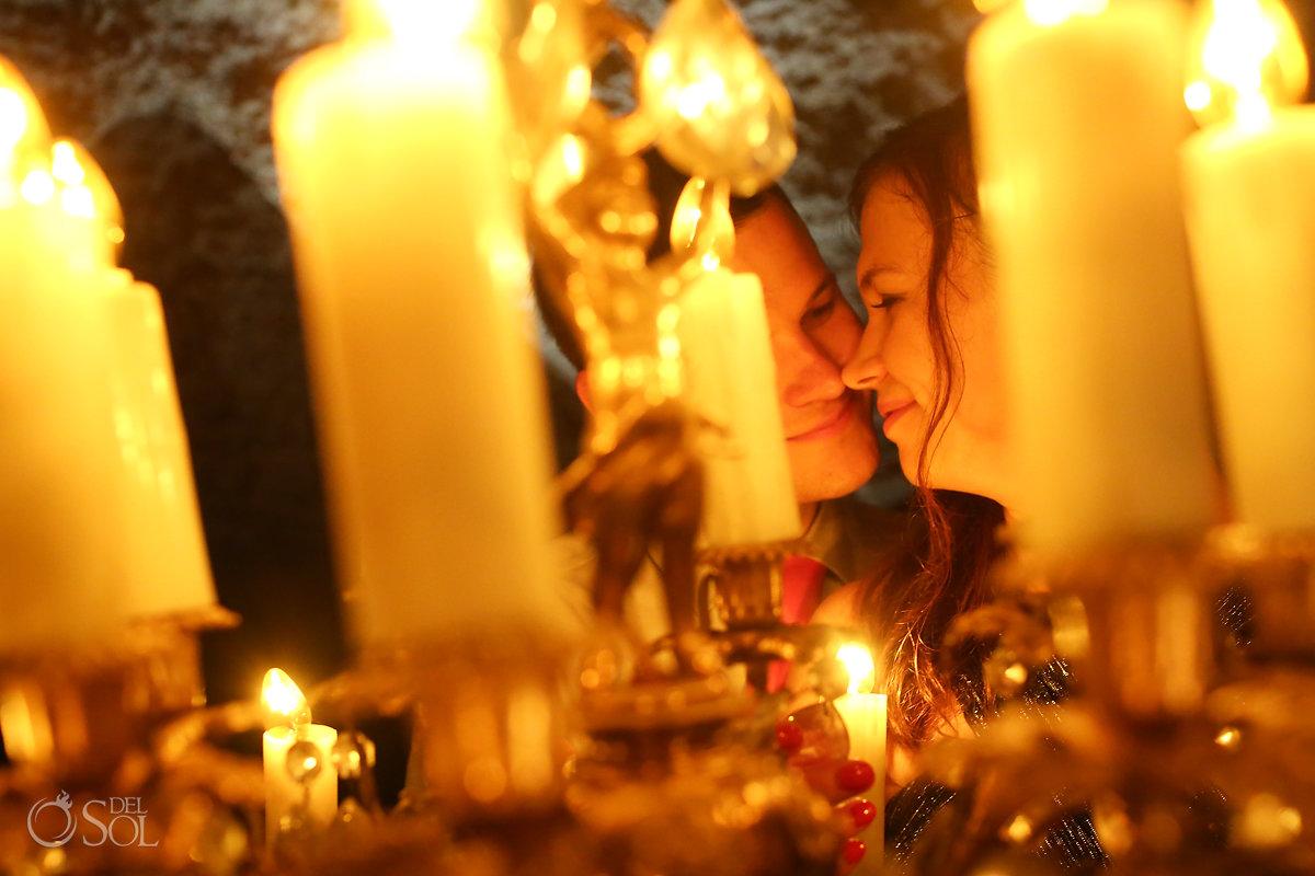 romantic couple portrait chandelier mexico cave wedding reception Alux restaurant Playa del Carmen