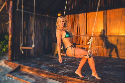 Allison Dunbar bikini model in swing green swimwear