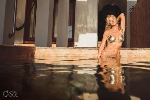 Allison Dunbar bikini model in swimming pool