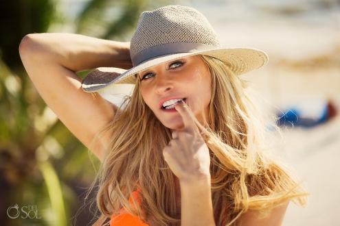 Allison Dunbar Playa del Carmen Lifestyle Photography Orange Bikini and beach hat