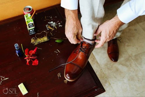 documentary wedding details grooms shoes sage smudging Dreams Tulum Spiritual Wedding