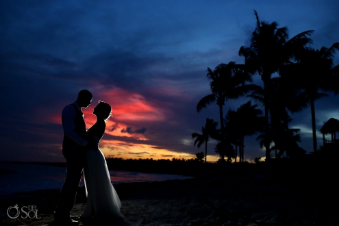 Sunset silhouette Dreams Tulum Spiritual Wedding