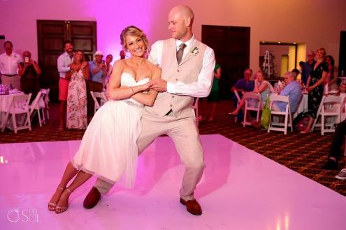 funny wedding photos first dance Dreams Tulum Ballroom