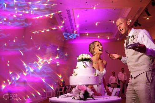 Cake Cutting Dreams Tulum Ballroom destination wedding reception