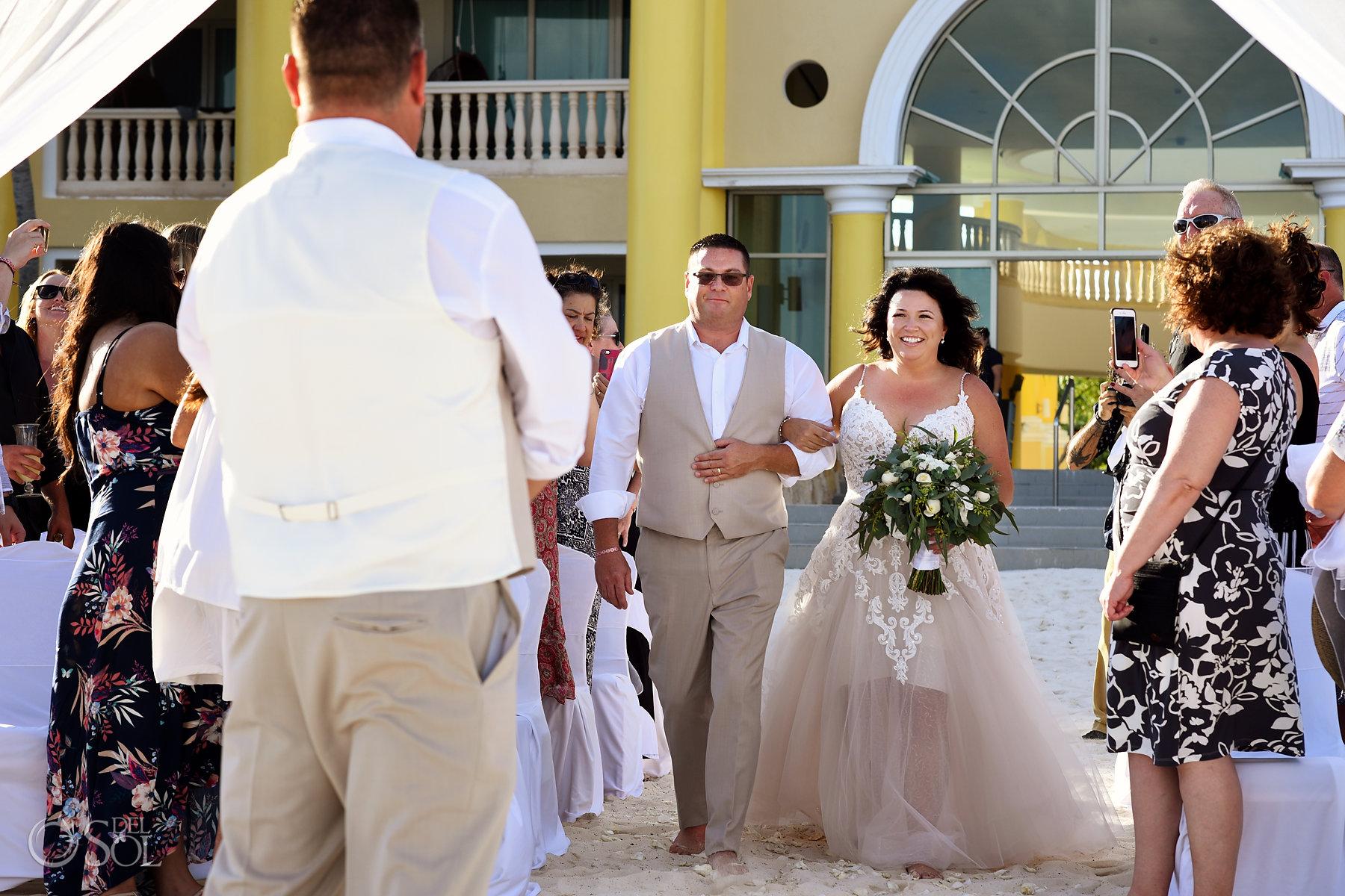 Iberostar Grand Paraiso wedding ceremony bride walking down the aisle
