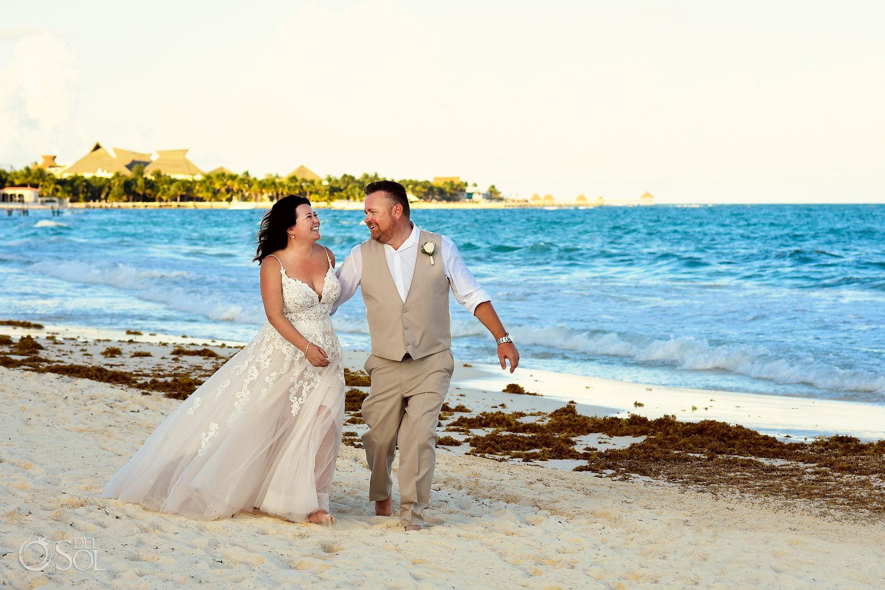 Bride and groom beach portraits Iberostar Grand Paraiso wedding