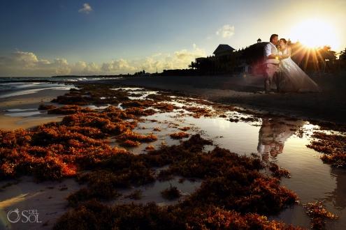Iberostar Grand Paraiso wedding bride and groom creative beach portraits
