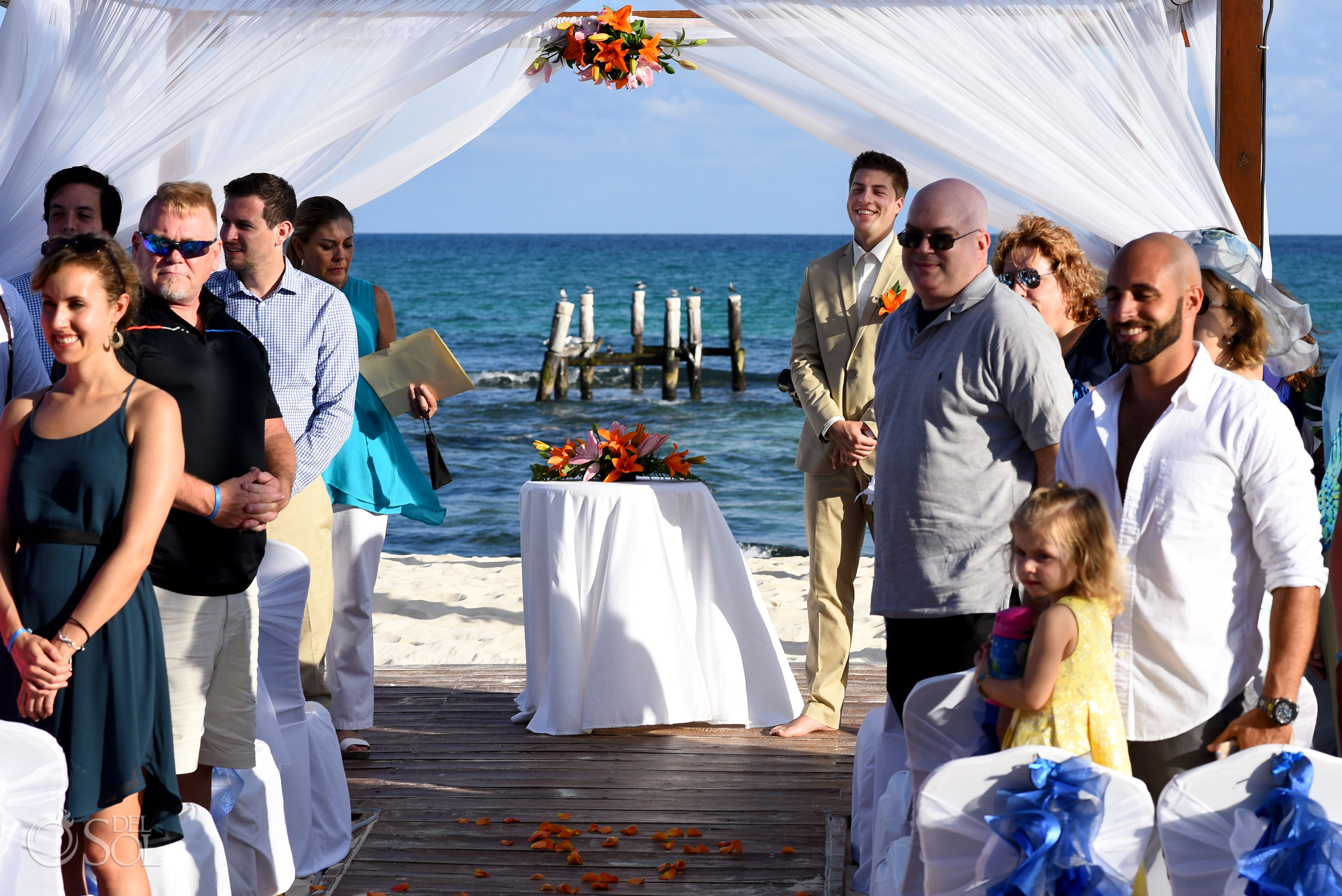 first look, groom sees bride for the first time Iberostar Paraiso del Mar Wedding
