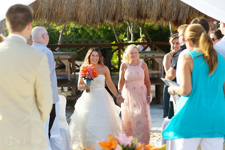 bride entrance with mom giving her away Iberostar Paraiso del Mar Wedding