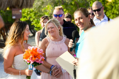 MOB giving bride away Iberostar Paraiso del Mar Beach Wedding