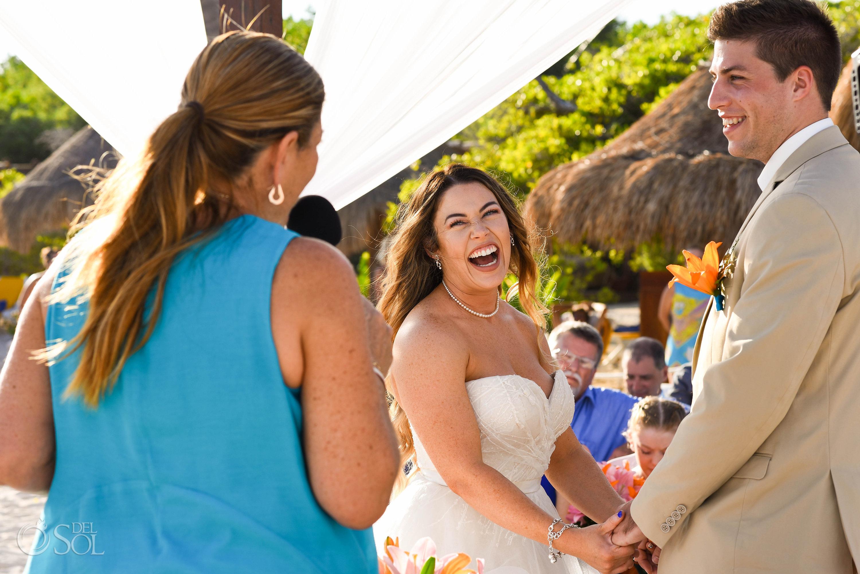bride laughs Iberostar Paraiso del Mar Wedding Riviera Cancun Mexico