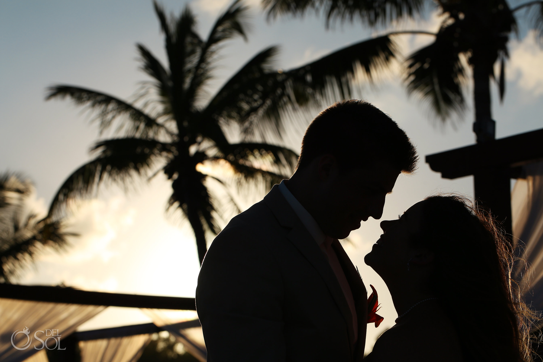 Bricde and groom silhouette Iberostar Paraiso del Mar Wedding