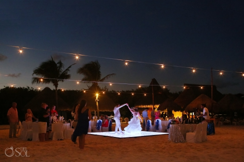 sunset first dance on the beach with bride spinning Iberostar Paraiso del Mar Wedding reception