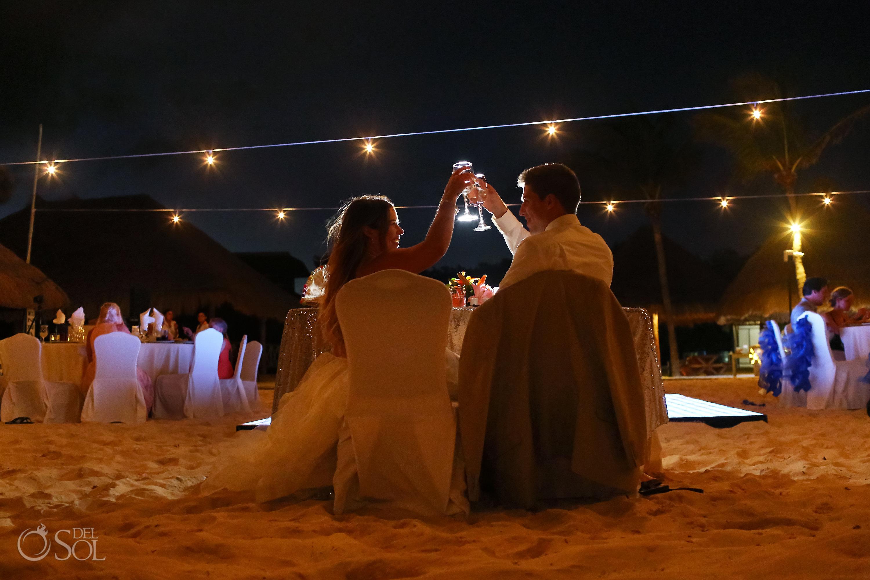 bride and groom champagne toast Iberostar Paraiso del Mar Wedding reception