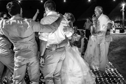 wedding guests all dancing together on the dancefloor Iberostar Paraiso del Mar Wedding reception
