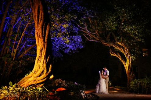 Night portrait bride and groom surrounded by illuminated trees Iberostar Paraiso del Mar Wedding