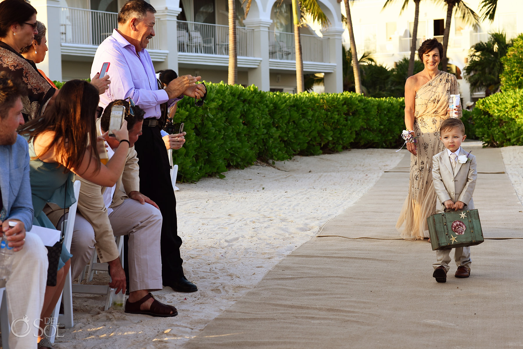 bride entrance with MOB Dreams Tulum Sunset Wedding